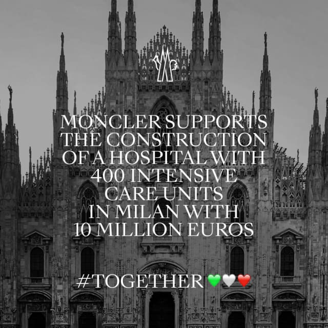 MONCLER SUPPORTS THE FIERA HOSPITAL PROJECT WITH 10 MILLION EUROS