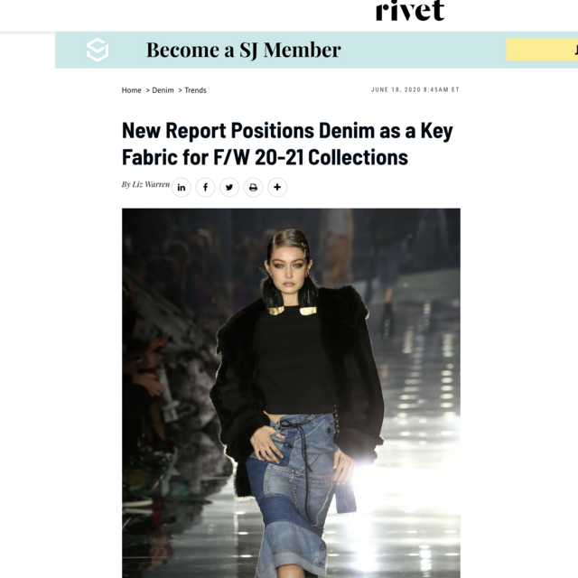New Report Positions Denim as a Key Fabric for F/W 20-21 Collections