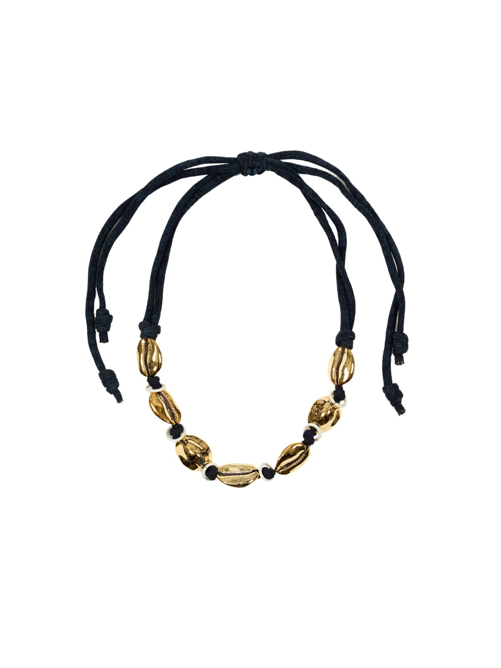 Abstract Chocker Style Necklace with Irregular Beads and Circles Mustard