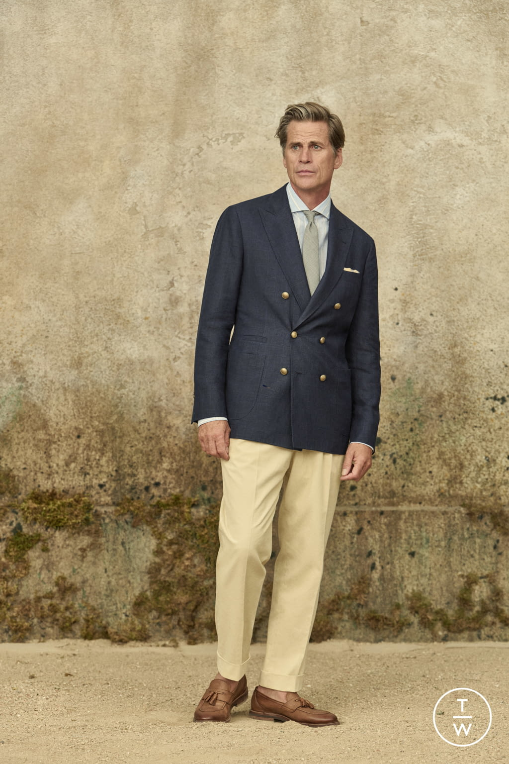 Fashion Week Milan Spring/Summer 2022 look 7 from the Brunello Cucinelli collection menswear