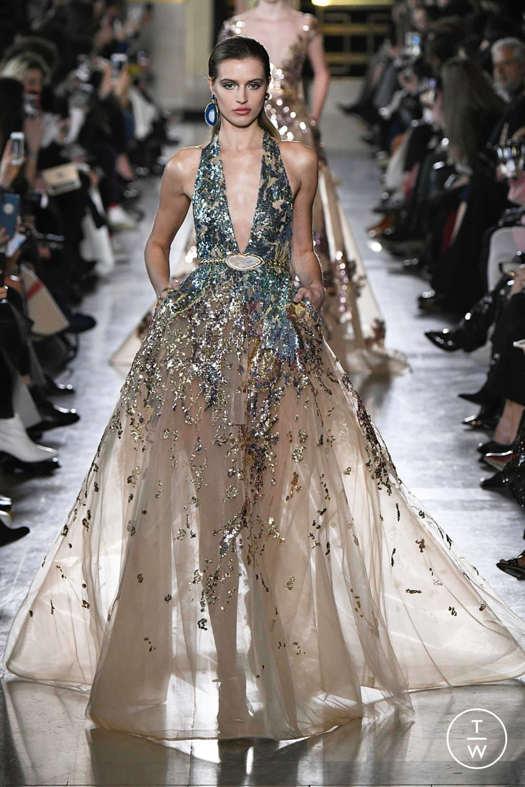 Fashion Week Paris Spring/Summer 2019 look 22 from the Elie Saab collection 高级定制