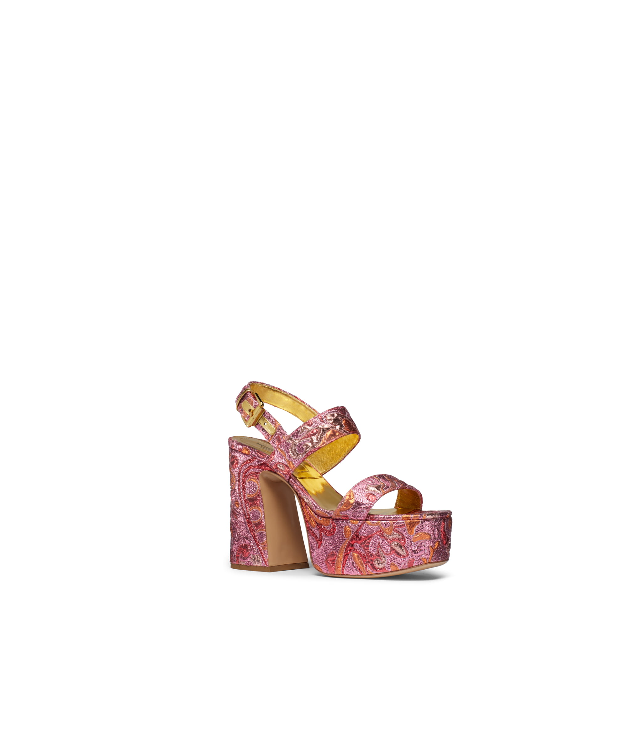 PINK EMBROIDERED FLOWER DESIGN WRAP ROUND LACE UPS STRAPPY SANDALS HIGH HEELS